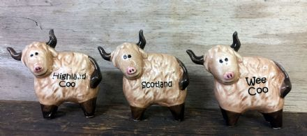 Set of 3 Ceramic Scottish Highland Cow Scotland Ornaments
